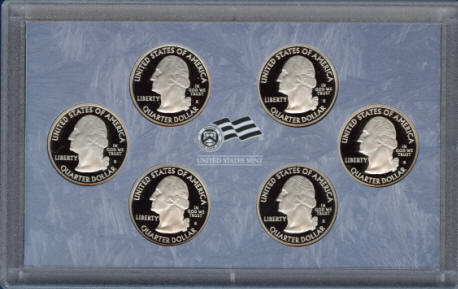 Holder showing front of 2009 proof quarters clad US mint set Q09