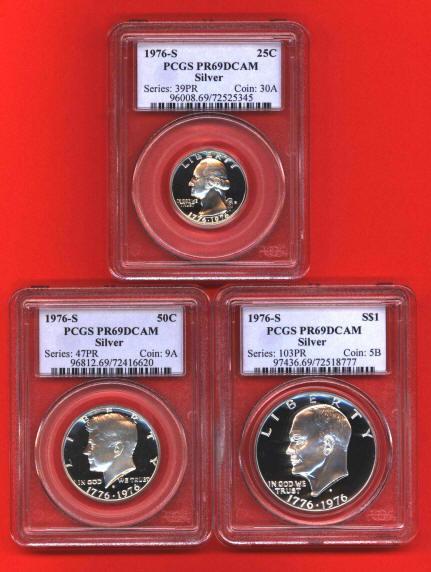 1976 S Silver Proof Coins 3 Coin Set Pcgs Pr69 Dcam