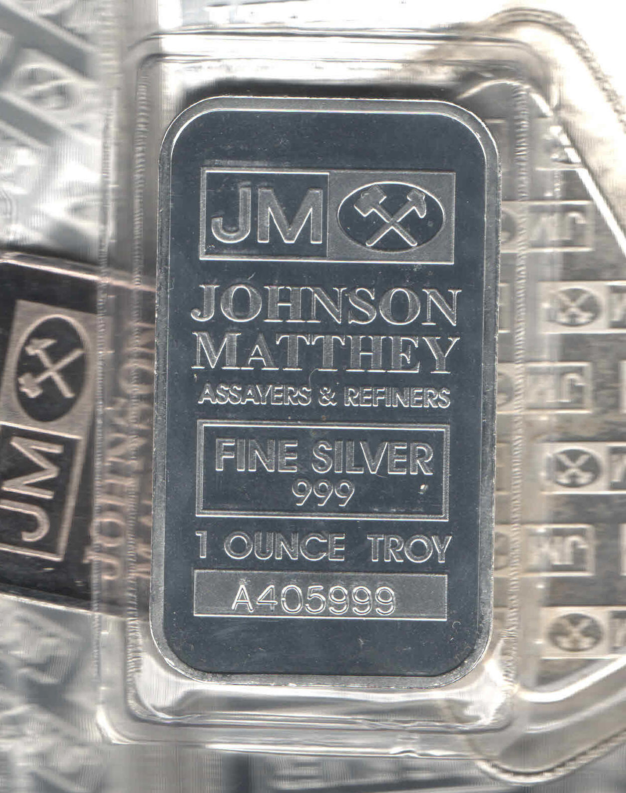 Lot of TEN JOHNSON MATTHEY 1 ounce SILVER BARS