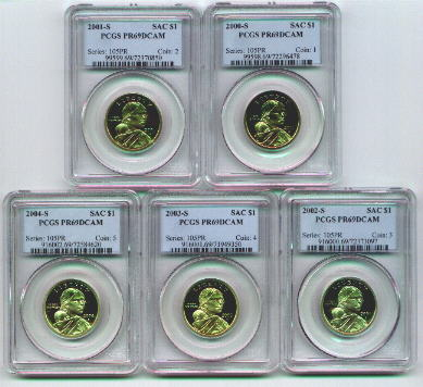 Sacagawea United States Golden dollar coins - Proof PCGS certified PR69 Deep Cameo